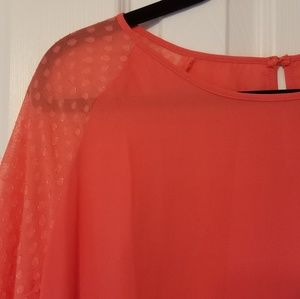 Coral/Orange 3/4 sleeve Flowy Blouse Stitch Fix